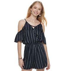 Juniors' Love, Fire Striped Cold-Shoulder Romper