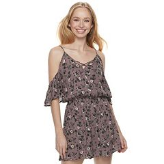 Juniors' Love, Fire Floral Cold-Shoulder Surplice Romper