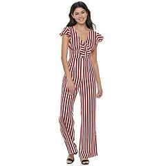 Juniors' Love, Fire Striped Wide-Leg Jumpsuit