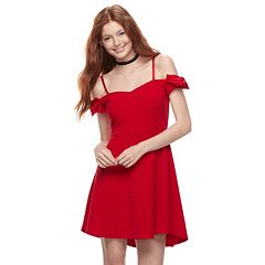 Juniors' Love, Fire Off-the-Shoulder Bow Dress