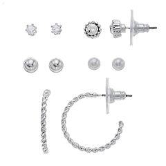 LC Lauren Conrad Cubic Zirconia & Twisted Semi-Hoop Earring Set