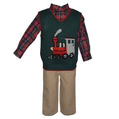 Toddler Boy Blueberi Boulevard Train Sweater Vest, Plaid Shirt & Corduroy Pants Set