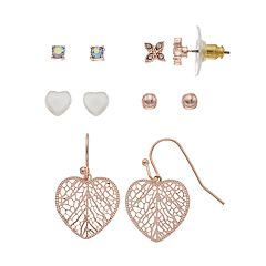 LC Lauren Conrad Heart Nickel Free Drop & Stud Earring Set