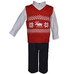 Toddler Boy Blueberi Boulevard Moose Sweater Vest, Plaid Shirt & Corduroy Pants Set