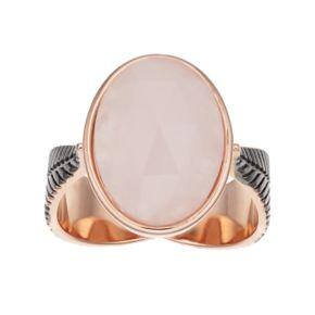 olive & ivy Rose Quartz Oval Ring