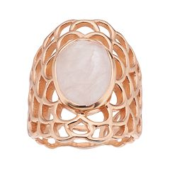 olive & ivy Rose Quartz Openwork Ring