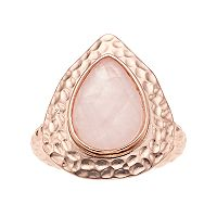 olive & ivy Rose Quartz Hammered Band Ring