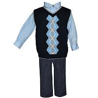 Toddler Boy Blueberi Boulevard Argyle Sweater Vest, Striped Shirt & Corduroy Pants Set