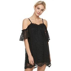 Juniors' Love, Fire Lace Cold-Shoulder Shift Dress