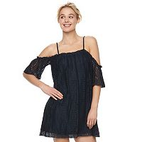 Juniors' Love, Fire Off Shoulder Lace Shift Dress