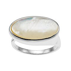 olive & ivy Mother-of-Pearl Oblong Band Ring