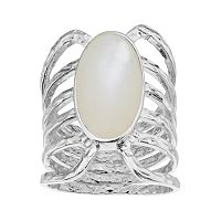 olive & ivy Silver Plated Mother-of-Pearl Multi Row Ring