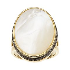 olive & ivy Mother-of-Pearl Oval Ring