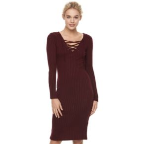 Juniors' Love, Fire Lace Up Ribbed Bodycon Dress