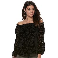 Women's Rock & Republic® Flocked Velvet Off-the-Shoulder Top
