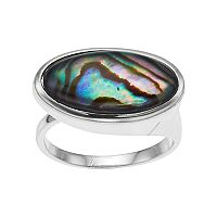 olive & ivy Abalone Oblong Band Ring