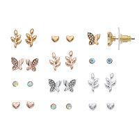 LC Lauren Conrad Butterfly, Vine & Heart Nickel Free Stud Earring Set