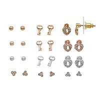 LC Lauren Conrad Skeleton Key & Heart Lock Nickel Free Stud Earring Set