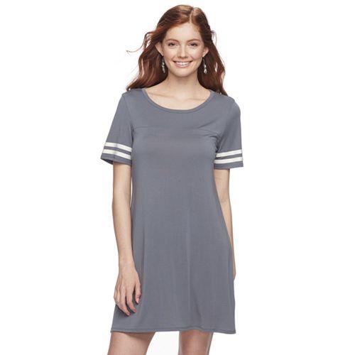 Juniors' Pink Republic Stripe-Sleeve T-Shirt Dress