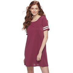 Juniors' Pink Republic Stripe-Sleeve T-Shirt Dress