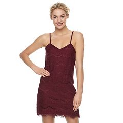 Juniors' Love, Fire Tiered Lace Slip Dress