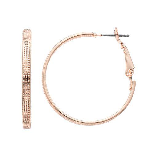 LC Lauren Conrad Textured Flat Tube Nickel Free Hoop Earrings
