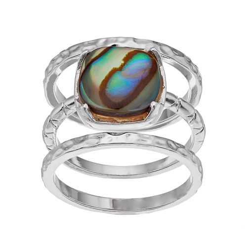 olive & ivy Silver Plated Abalone Stack Ring Set