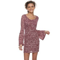Juniors' Liberty Love Marled Bell Sleeve Bodycon Dress