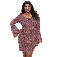 Juniors' Plus Size Liberty Love Marled Bell Sleeve Bodycon Dress
