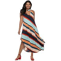 Juniors' Plus Size Stripped Halter Maxi Dress