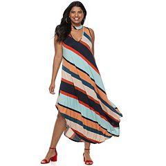 Juniors' Plus Size Stripped Halter Maxi Dress