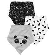 Baby Girl Carter's 3 pkPanda Bear & Heart Print Bandana Teething Bandana Bibs