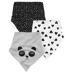 Baby Girl Carter's 3-pk. Panda Bear & Heart Print Bandana Teething Bandana Bibs