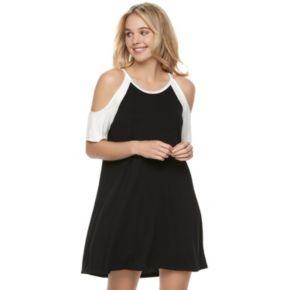 Juniors' Love, Fire Cold-Shoulder T-Shirt Dress