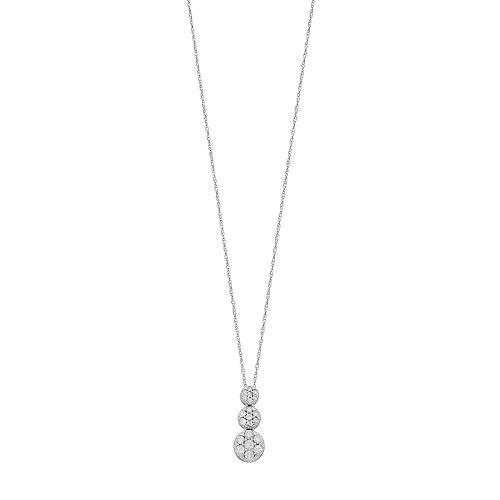 10k White Gold 1/3 Carat T.W. Diamond Graduated Pendant Necklace