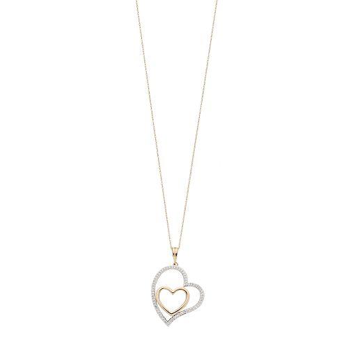 10k Gold 1/3 Carat T.W. Diamond Two Tone Heart Pendant Necklace