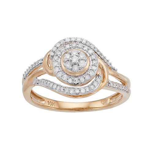 10k Gold 1/3 Carat T.W. Diamond Two Tone Bypass Ring