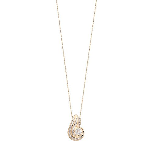 10k Gold 1/2 Carat T.W. Diamond Swirling Pendant Necklace