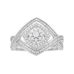 10k White Gold 1/2 Carat T.W. Diamond Crisscross Ring