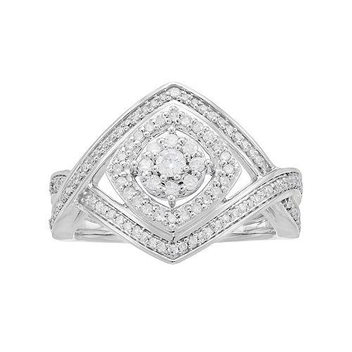 10k White Gold 1/2 Carat T.W. Diamond Crisscross Ring