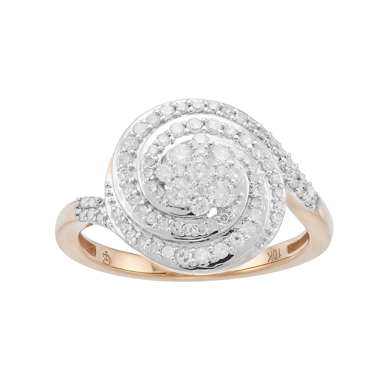 10k Gold 12 Carat TW Diamond Two Tone Spiral Ring