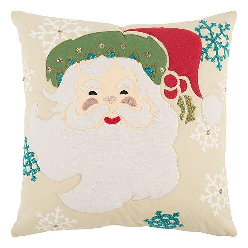 Rizzy Home Santa Claus Snowflake Throw Pillow