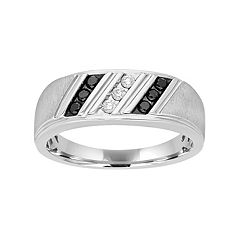 Men's Sterling Silver 1/4 Carat T.W. Black & White Diamond Diagonal Striped Ring