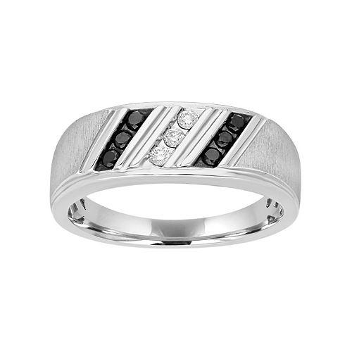 Men's Sterling Silver 1/4 Carat T.W. Black & White Diamond Diagonal Striped Ring
