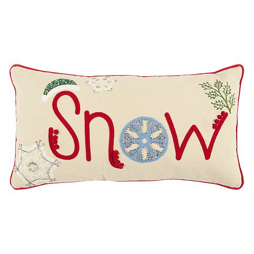 """Rizzy Home """"Snow"""" Oblong Throw Pillow"""