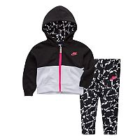 Baby Girl Nike Colorblock Zip Hoodie & Patterned Pants Set