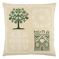 Rizzy Home Tree Cross Stitch Throw Pillow