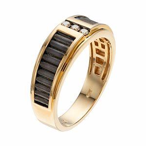 Men's Two Tone 10k Gold 1/10 Carat T.W. Diamond 3-Stone Ring