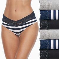 Juniors' Saint Eve 6-pack Lace Trim Hipster Panties 516403P6