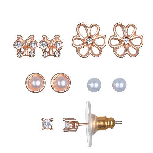 LC Lauren Conrad Butterfly & Flower Nickel Free Stud Earring Set